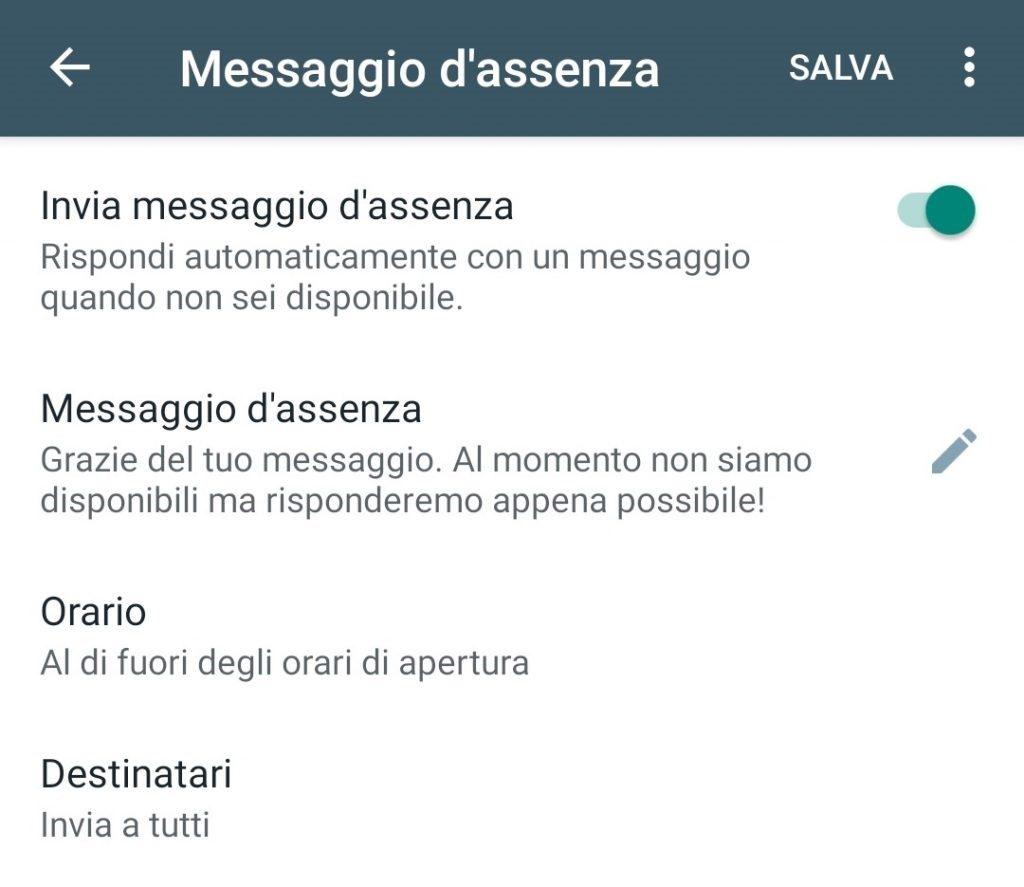 Whatsapp Business per hotel: il messaggio di assenza