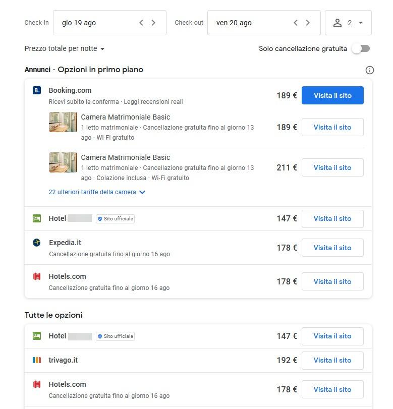 Link gratuiti Booking Engine Google Hotel