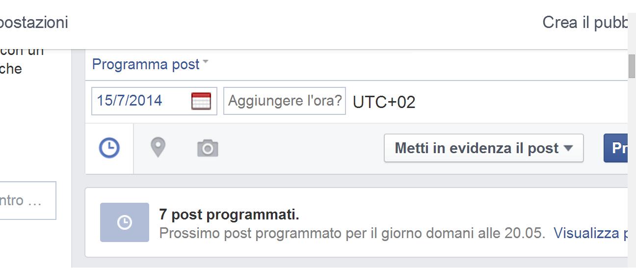 Programmazione post Facebook