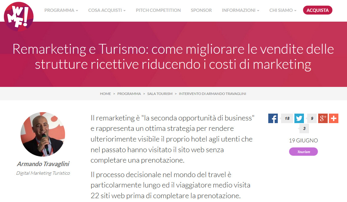 Remarketing e turismo armando travaglini web marketing festival
