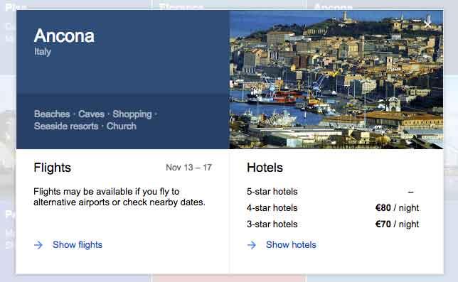 Maggiori informazioni relativamente ad una proposta di destinazione di Google Flights