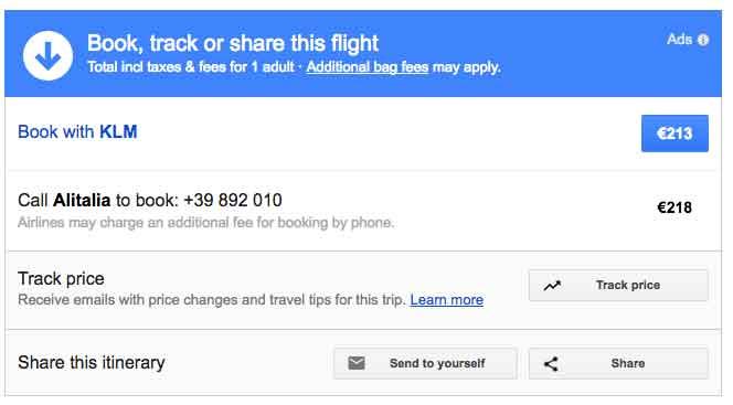 Prenota, traccia o condividi il volo