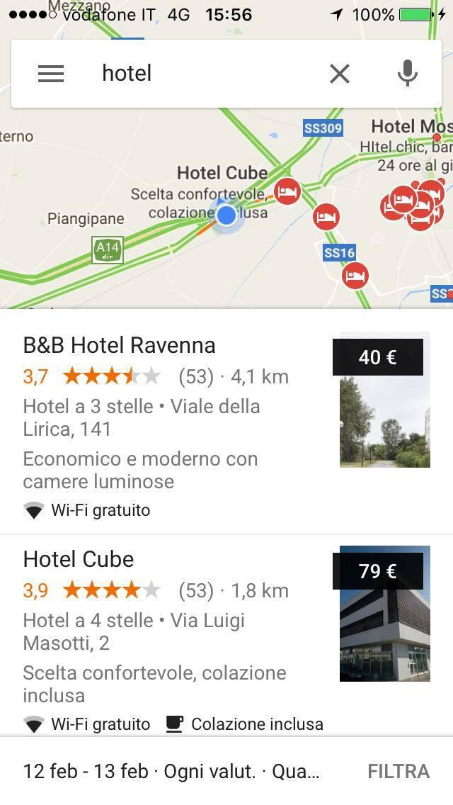 Ricerca della parola Hotel su Google Maps effettuata nei dintorni di Ravenna